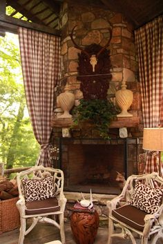 Fireplace porch, love the curtains too. I would love to spend my time on this porch. Plaid Curtains, Drapes Curtains, Check Curtains, Outdoor Rooms, Outdoor Living, Porches, Porch Fireplace, Custom Drapes, Rustic Elegance