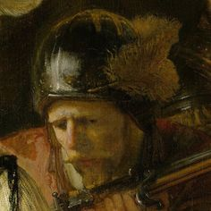 """The Night Watch"" ""Nachtwacht"" (""The Company of Frans Banning Cocq and Willem van Ruytenburch"") [Detail] (1642)  Detail: Jan Claesen Leijdeckers By Rembrandt Harmenszoon van Rijn, from Leiden, Netherlands (1606-1669) oil on canvas; 379.5 x 435.5 cm; 149.4 x 178.5 in"