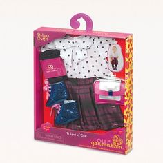 Our Generation Deluxe Outfit - A Spot of Dot All American Girl Dolls, Ropa American Girl, Barbie Pink Passport, My Life Doll Accessories, Project Mc, Our Generation Dolls, Birthday List, Ag Dolls, Doll Crafts