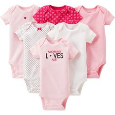 Walmart $14.21 Child of Mine by Carter's Newborn Baby Girl Assorted Bodysuits, 6-Pack