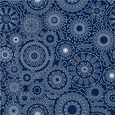 White Lace Flowers on Dark Blue Seamless Pattern - Patterns Decorative