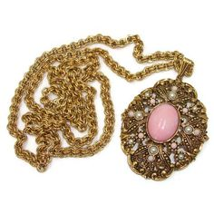 Signed Avon Ornate Pink Cabochon Pendant Gold Tone Victorian Style... ($18) ❤ liked on Polyvore featuring jewelry, necklaces, victorian necklace, gold tone chain necklace, glass cabochon pendant, glass necklace pendants and pendant chain necklace