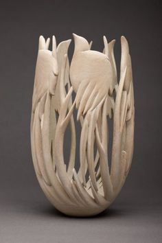 TRACES OF THEN - Ron Layport (2013, collection of the artist) >> This vessel revisits a design idea from my personal collection. A similar piece covered with layer upon layer of burnished patina. Here I have let the Sycamore have its voice. It speaks softly. <<