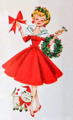 "christmas-always:"" It's Christmas, always! 🎁"" Vintage Christmas Images, Old Fashioned Christmas, Christmas Past, Retro Christmas, Vintage Holiday, Christmas Pictures, Christmas Greetings, Christmas Girls, Christmas Crafts"