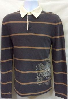 904d5e69e2 Aeropostale Mens S Small Long Sleeve Polo Shirt Stripe Tan Gray Cotton Nice  H166  Aeropostale