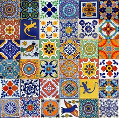 ✔ About 36 pieces of Add a special touch to any surface or project with these tiles! * Size: inch -You will receive a box of 36 mixed tiles, handmade in Talavera inches) [For tiles of the same size] Moroccan Stencil, Moroccan Art, Mosaic Backsplash, Mosaic Tiles, Tiling, Tile Patterns, Pattern Art, Mexican Pattern, Patchwork Tiles