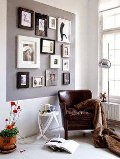 combinar pintura y cuadros en una pared