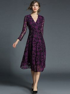 Buy Purple Romantic Hit Color Hollow Out Skater Dress at DressSure.com Color:Purple; Size:S, M, L, XL, 2XL; Material:Lace, Polyester; Style:Casual; Silhouette:A-Line Dresses; Dresses Length:Mid-Calf; Sleeve Length:Full; Sleeve Style:Regular; Neckline:V-Neck; Waistline:Empire; Decoration:Lace; Pattern Type:Solid; Price: US$ 50.99