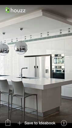 All white kitchen looks a little cold to me, I would prefer mine with a black table top. But, I do love the kitchen design.