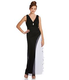 Blondie Nites 2-Tone V-Neck Gown | Dillard's Mobile