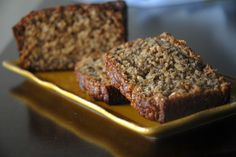 Whole Wheat and Oat Banana Bread with Honey and Applesauce (no butter or granulated sugar)