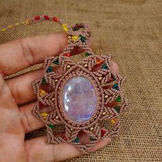 Macrame Necklace Pendant Moonstone Stone Waxed Cord Handmade Cabochon #Handmade #Pendant