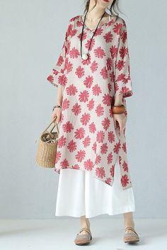 Cute V Neck Floral Pink Long Dress Women Clothes Q9731