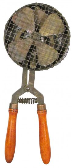 Rare Barber Shop Hand Held Fan with Protective Cage. Wood grips and metal construction.