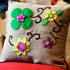 This decorative pillow could be recreated with felt!