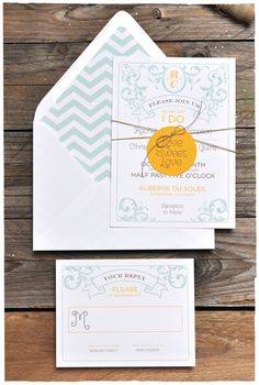 Taffeta Wedding Invitation & RSVP | Mint & Yellow | Smitten On Paper