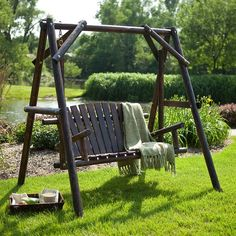 Coral Coast Rustic Torched Log Curved Back Porch Swing and A-Frame Set $249.98 (hayneedle.com)