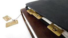 12 pcs Gold Plated Brass Number Clips / Index Bookmarks