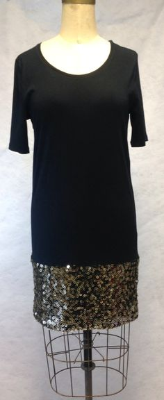 Tweaked by mianj...OOAK upcycled black t shirt mini dress tunic with gold sequins sexy holiday dress top on Etsy, $58.00