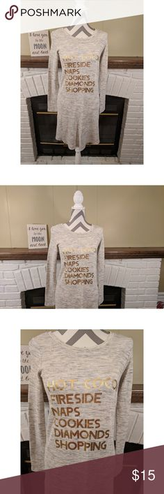 """Aerie Nightgown NWOT Aerie Nightgown: Hot Cocoa, Fireside, Naps, Cookies, Diamonds, Shopping in gold lettering on a gray background. Cute and comfortable! Perfect for the cooler temps!  Size: Medium. Material: 58% cotton, 39% modal, 3% elastane. Machine washable.  Approximate measurements: - Bust: 16"""" - Length: 34""""  Smoke-free home. aerie Intimates & Sleepwear Pajamas"""