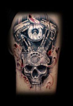 harley skull tattoo by SIN66
