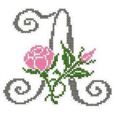 motif-Point de croix-Abc Rose anglaise-A