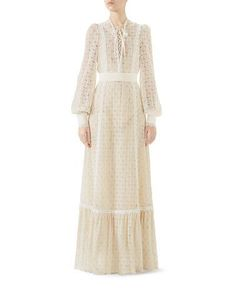 Lace-Up Long-Sleeve Macrame Long Dress by Gucci at Neiman Marcus Beige Maxi Dresses, Cute Dresses, Vintage Dresses, Casual Dresses, Modest Fashion, Fashion Outfits, Gucci Fashion, Fashion Women, Dress Alterations