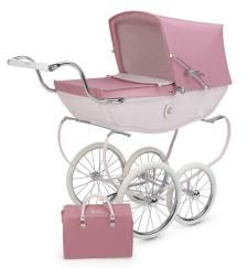 Silver Cross Chatsworth Dolls Pram - Pink/Rose plaque