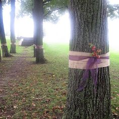 This could be the focal point for an outdoor wedding. Ribbon in colors of wedding and maybe a larger floral.