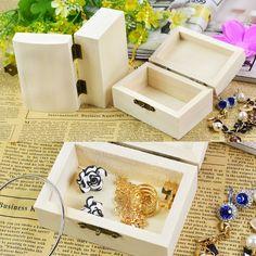 Wooden Jewelry Box Square Mud Base Art Decor DIY Wood Crafts Toys