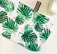 Portable changing pad | tropical palms | travel changing mat | emerald green | tropical baby | tropical nursery | waterproof baby diaper changing | traveling with baby tips | by Wilder and Bean