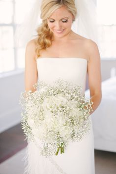 baby's breath and white hydrangea bouquet by Ines Naftali / photo: katielopezphotography.com