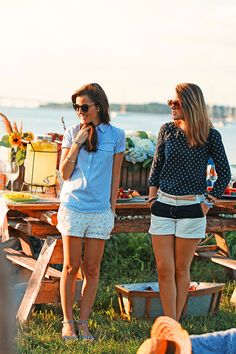 Classy Girls Wear Pearls: Summer Memories Never Fade VIII: Meet me at Fox Hill Farm _stripe shirt w/peter pan collar and lace shorts, those blue sandals are cute too