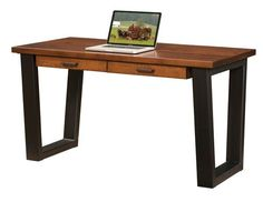 Amish London Writing Desk Cool contemporary look for office supported by fine craftsmanship. The London is Amish made in choice of wood and stain. Option to add an organizer on top with slots and drawers to house supplies. #writingdesk #contemporarydesks