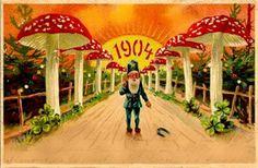 Psychedelic Mushroom New Year postcard, 1904