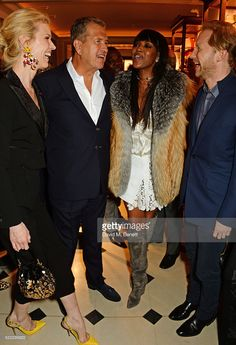 Eva Herzigova, Mario Testino, Naomi Campbell and Jan Olesen attend an event hosted by Naomi Campbell, Burberry and TASCHEN to celebrate the launch of 'Naomi' at Burberry's at Thomas's on April 18, 2016 in London, England