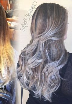 Silver ombré hair with long layers. Perfect fall the fall time. Love it. Blonde, brunette, dark, ombre.