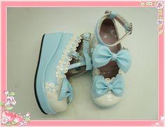 Blue Bowknots PU Lolita Shoes