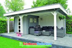Blokhut plat dak met luifel. Deze blokhut is ook in allerlei andere afmetingen en opties mogelijk.
