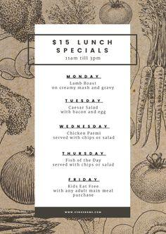 15 lunch specials menu template on recycled texture background Easil Menue Design, Food Menu Design, Restaurant Menu Design, Food Packaging Design, Restaurant Identity, Restaurant Restaurant, Lunch Menu, Dinner Menu, Weekly Menu Template
