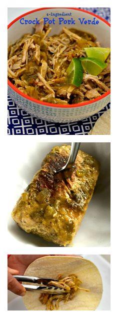 2-ingredient Crock Pot Pork Verde. Start with a frozen pork tenderloin, dinner on the table in 4 hours! ReluctantEntertainer.com