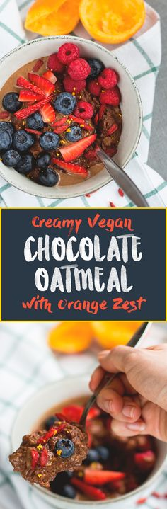Chocolate Oatmeal with Orange Zest - delicious chocolatey oatmeal recipes that's easy to make and really tasty! I love the orange chocolate combiniation! This literally tastes like a dessert. Vegan, gluten-free, and good for you!   thehealthfulideas.com
