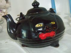 Vintage Redware Cat Teapot Shafford ca 1950 by MandaToryTreasures  Did you have this one?