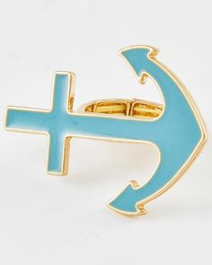 Gold Tone / Turquoise Epoxy / Lead Compliant / Stretch / Anchor Ring