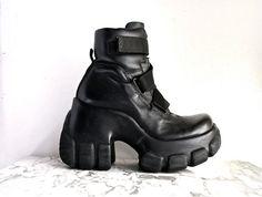 Vintage Cyber Goth Chunky Platform Wedge by FeelingVagueVintage, $142.00