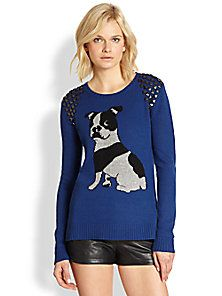 BCBGMAXAZRIA - Studded Bulldog / Boston Terrier Intarsia Sweater