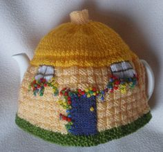 Hand knitted Tea Cosy English Country Thatch by BringMeSunshine7