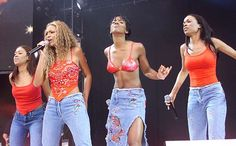 """Destiny's Child's Best Matching Outfits. Farrah Franklin, Beyonce Knowles, Kelly Rowland, and Michelle Williams at """"Party In The Park"""" at Hyd... - Dave Hogan/Getty Images"""