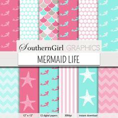 "Mermaid Digital Papers - ""MERMAID LIFE"" mermaid, starfish, pink, aqua, white, scale, dot, nautical, digital patterns for cards, invitations"