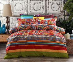 Boho Chic Bedding Sets, Bohemian Style Bedding are Comfy Bedding - 3-Piece Bohemian Ethnic Retro Multi Color Bedding Sets-Collections,Morocco Boho Chic Stripe Duvet Cover Sets with Shams,Turquoise and Tangerine,for Home Decor, at luxcomfybedding.com